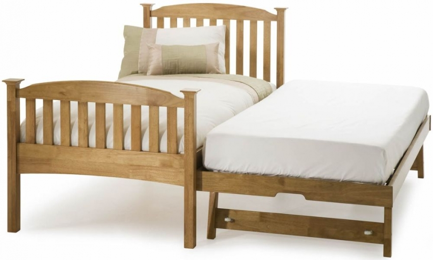 Serene Hevea Wood Eleanor Honey Oak Guest Bed - High Foot End