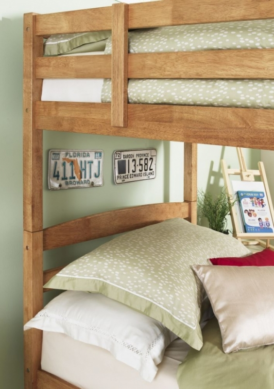 Serene Brooke Hevea Wood Honey Oak Bunk Bed