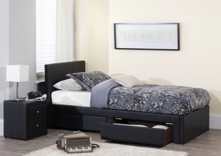 Serene Latino Black Faux Leather Storage Bed - 3ft Single with 2 Drawer