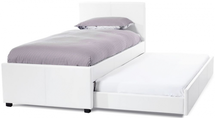 Serene Carra White Faux Leather Guest Bed