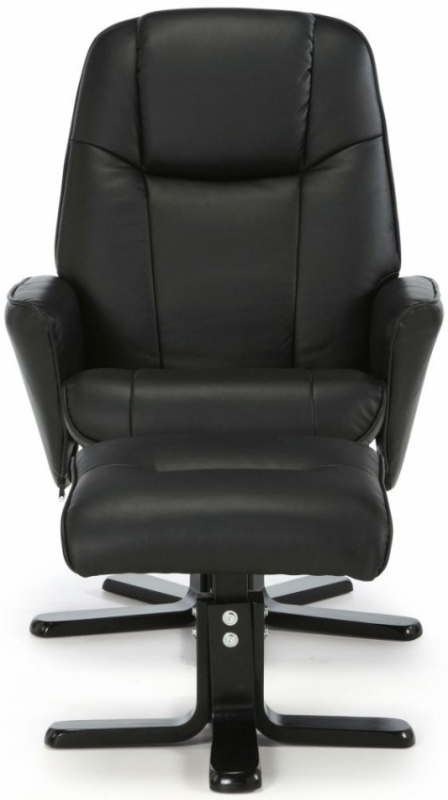 Serene Bergen Black Faux Leather Recliner Chair