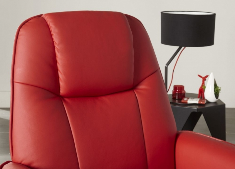 Serene Bergen Red Faux Leather Recliner Chair