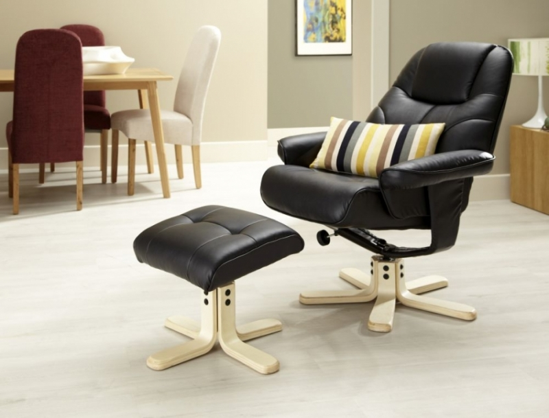 Serene Bodo Black Faux Leather Recliner Chair