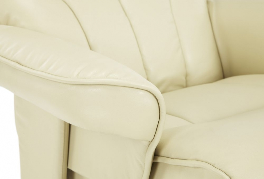 Serene Bodo Cream Faux Leather Recliner Chair