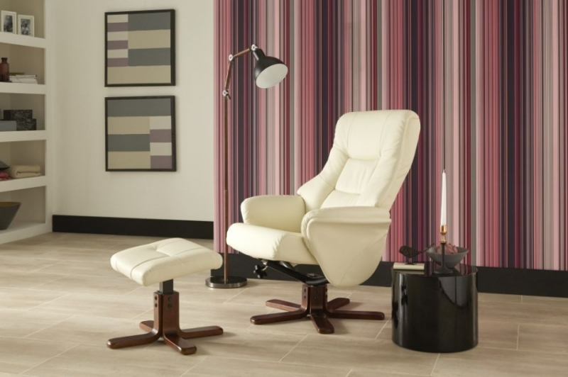 Serene Drammen Cream Faux Leather Recliner Chair