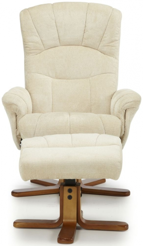 Serene Mandal Cream Fabric Recliner Chair