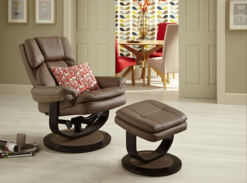 Serene Vardo Latte Bonded Leather Recliner Chair