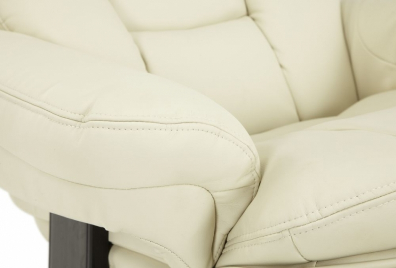 Serene Vardo Cream Bonded Leather Recliner Chair