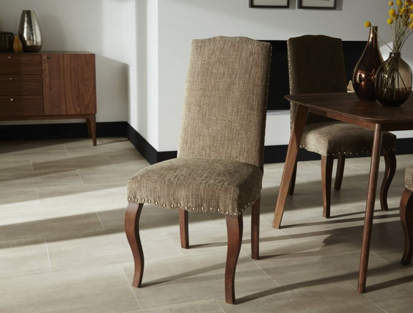 Serene Kensington Bark Fabric Dining Chair with Walnut Legs (Pair)