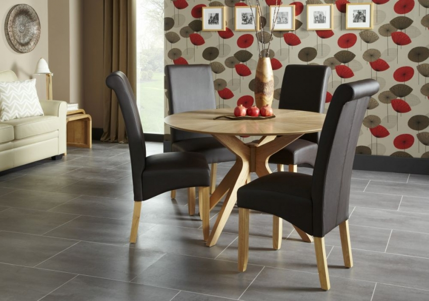 Serene Bexley Oak Dining Table - Round Fixed Top