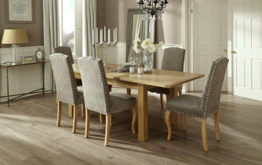 Serene Bromley Oak Dining Set - Extending with 6 Kensington Bark Chairs