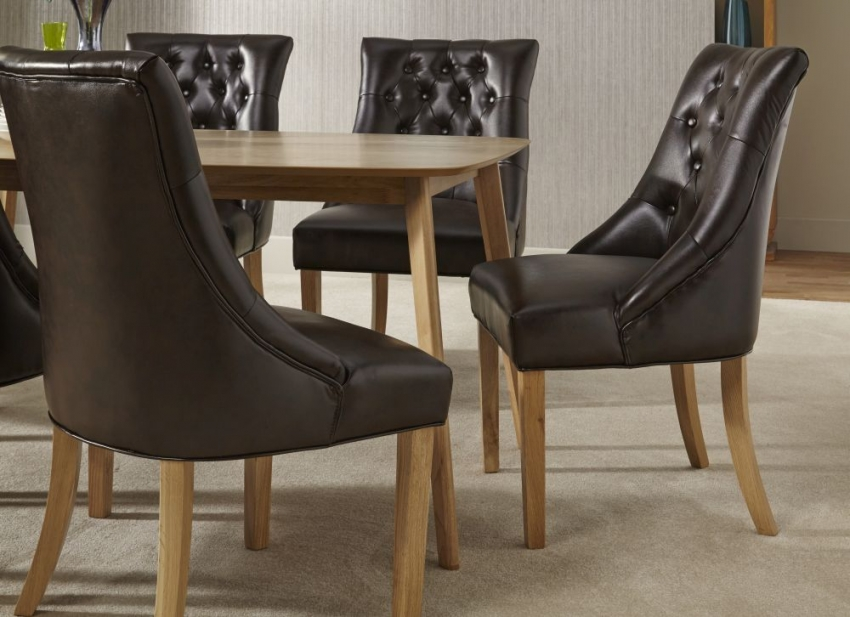 Serene Westminister Oak Dining Set - 150cm with 6 Hampton Brown Leather Chairs