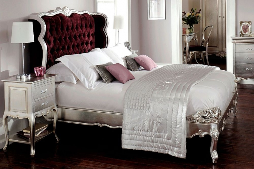 Willis and Gambier Cristal Silver Leaf Bedstead