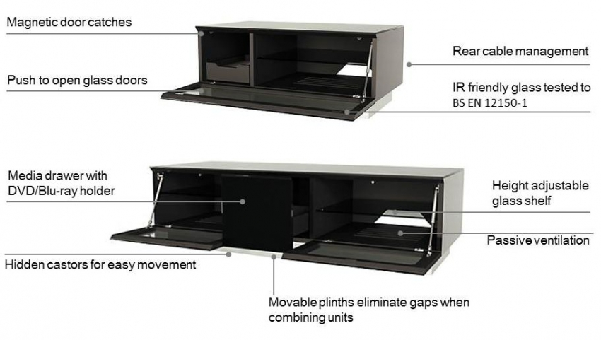 Alphason Element Black TV Cabinet - EMTMOD850-BLK