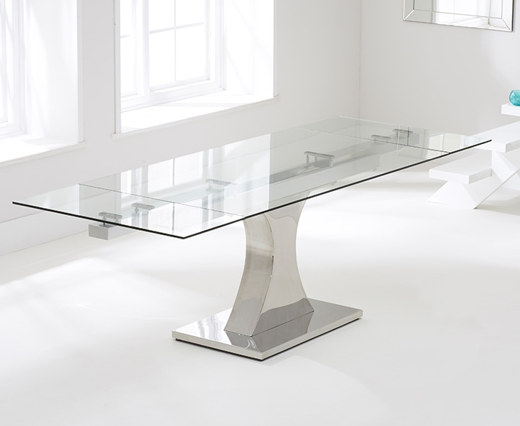 Mark Harris Amber Glass Extending Dining Table and 6 Malibu Chairs - Chrome and Grey