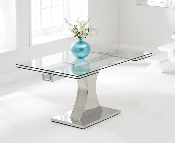 Mark Harris Amber 160cm Glass Extending Dining Table With 6 Hereford Z White