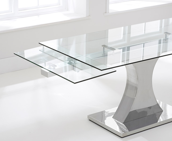 Mark Harris Amber Glass Extending Dining Table and 6 Hereford Z Chairs - Chrome and White