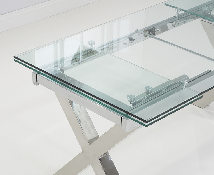 Mark Harris Cilento 160cm Glass Extending Dining Table with 6 Hereford Z Grey Chairs
