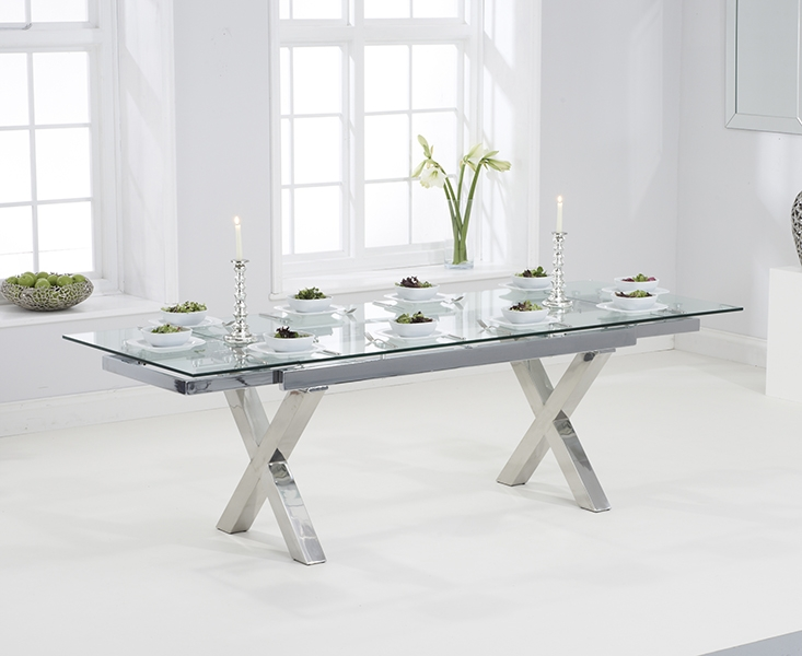 Mark Harris Cilento Glass Extending Dining Table and 6 Hereford Z Chairs - Chrome and White