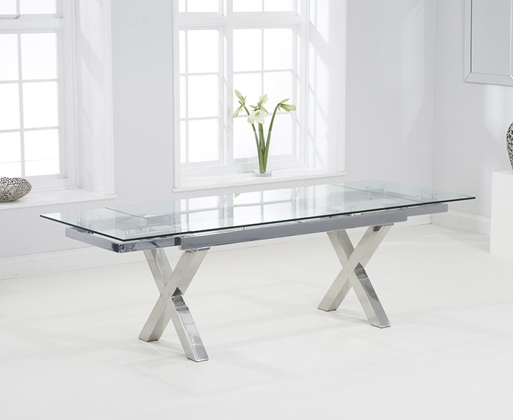 Buy Mark Harris Cilento 160cm Glass Extending Dining Table With 6 Malibu Blac