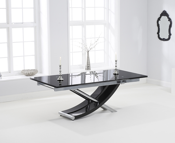 Mark Harris Hanover 210cm Black Glass Extending Dining Table with 6 Hereford Z White Chairs