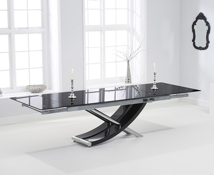Superb Mark Harris Hanover Black Glass Dining Set   210cm Rectangular Extending  With 8 Hereford Z White