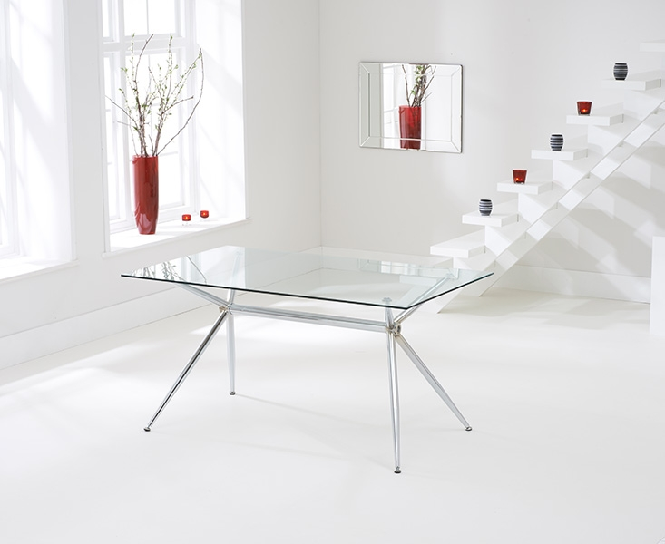 Mark Harris Salento Glass Dining Table and 4 California Chairs - Chrome and Cream