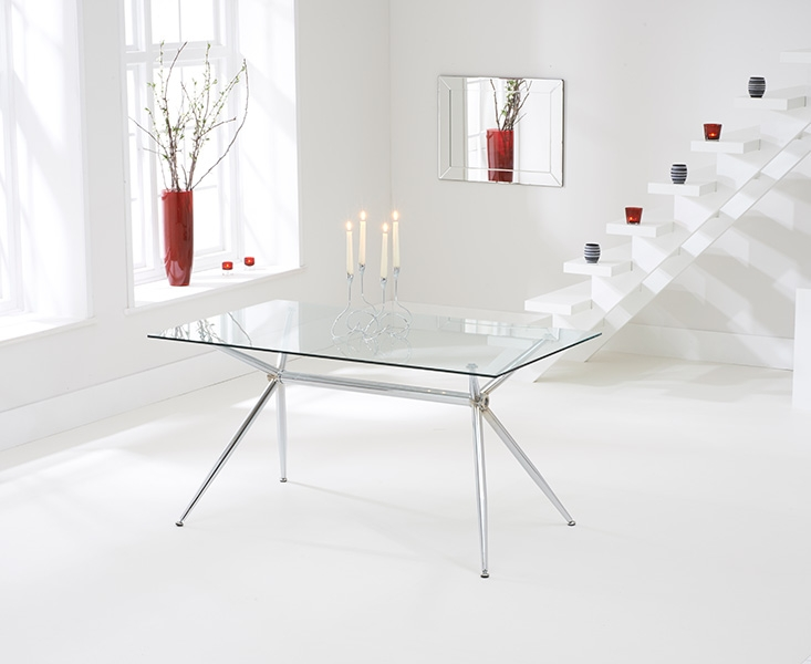 Mark Harris Salento Glass Dining Table and 4 California Chairs - Chrome and Red