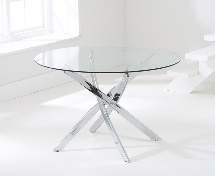 Mark harris daytona 110cm glass round dining table with 4 for 110cm round glass dining table