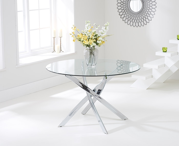 Mark Harris Daytona 110cm Glass Round Dining Table with 4  : 4Mark Harris Daytona 110cm Glass Round Dining Table with 4 California Cream Dining Chairs 03 from choicefurnituresuperstore.co.uk size 733 x 600 jpeg 136kB