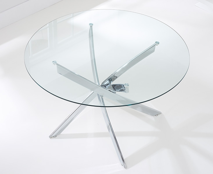 Mark Harris Daytona 110cm Glass Round Dining Table with 4 California Grey Dining Chairs