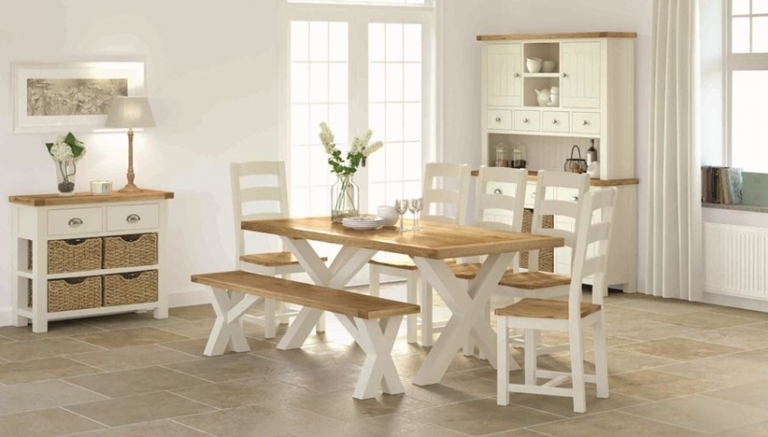 Global Home Hampton Painted Dining Table with Cross Legs
