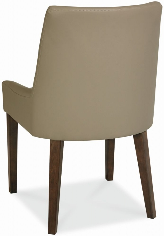 Bentley Designs City Walnut Dining Chair - Scoop Back Grey Bonded Leather (Pair)