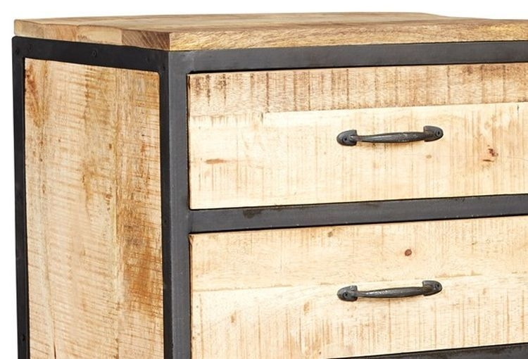 Indian Hub Cosmo Industrial 6 Drawer Tall Chest