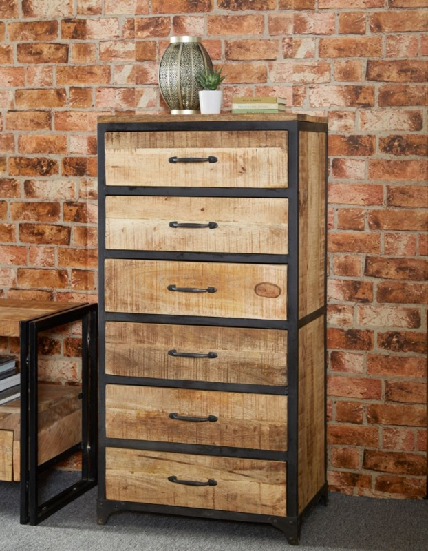 Indian Hub Cosmo Industrial Chest of Drawer - Tall