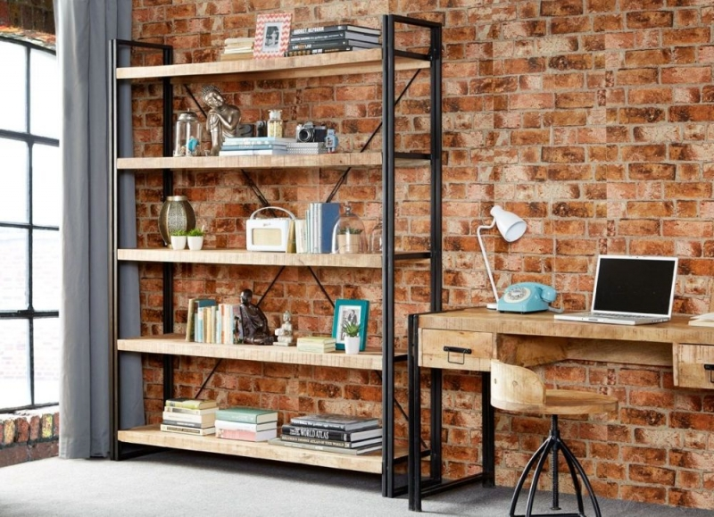 Indian Hub Cosmo Industrial Open Large Bookcase