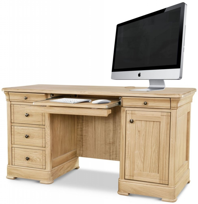 Clemence Richard Moreno Oak Double Pedestal Desk