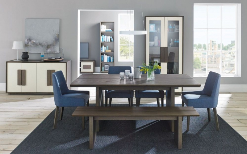 Bentley Designs City Weathered Oak and Soft Grey Dining Table - 6 Seater Panel