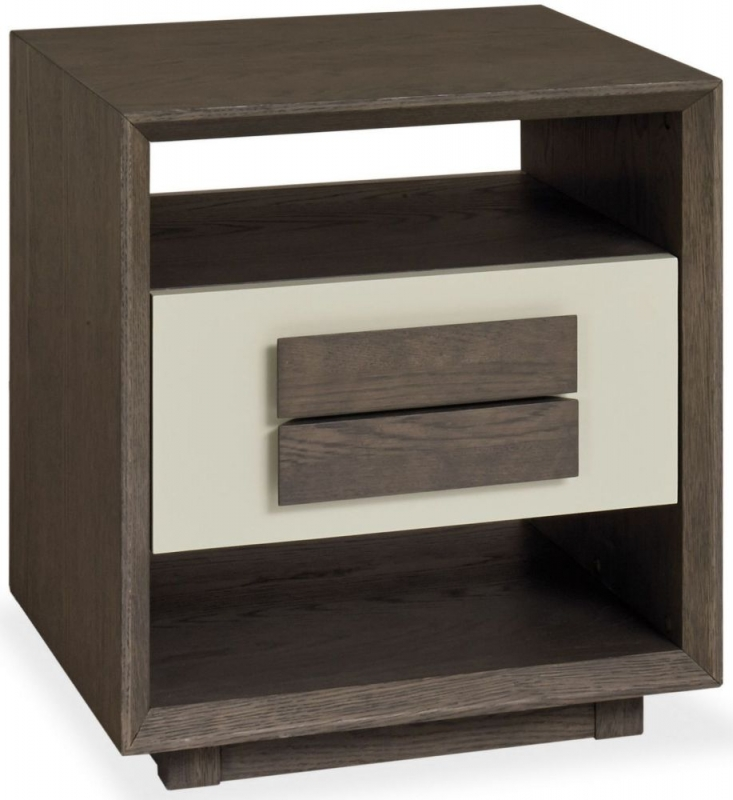 Bentley Designs City Weathered Oak and Soft Grey Lamp Table with Drawer