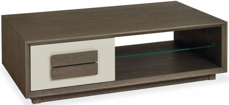 Bentley Designs City Weathered Oak and Soft Grey Coffee Table with Drawer