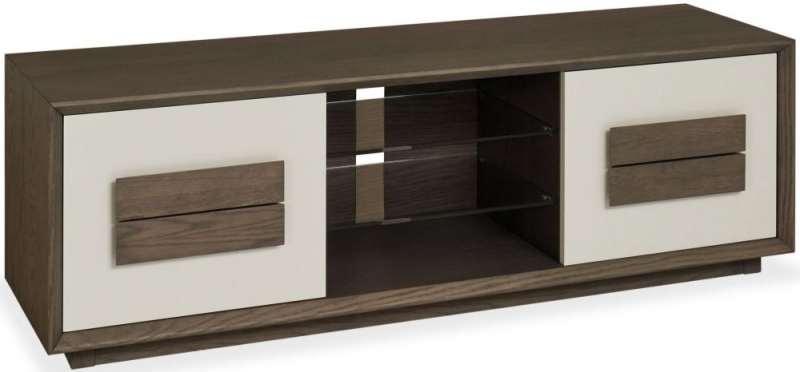 Bentley Designs City Weathered Oak and Soft Grey Entertainment Unit - Wide