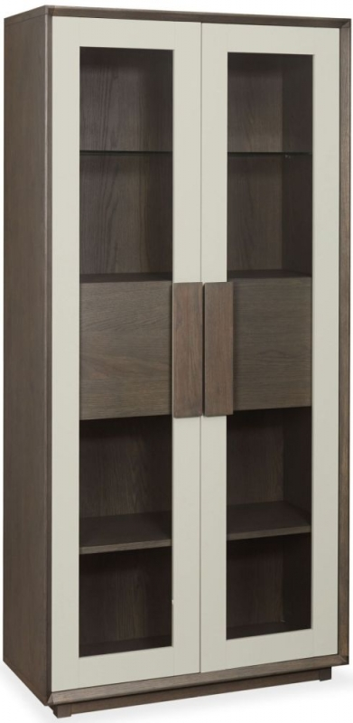 Bentley Designs City Weathered Oak and Soft Grey Display Cabinet