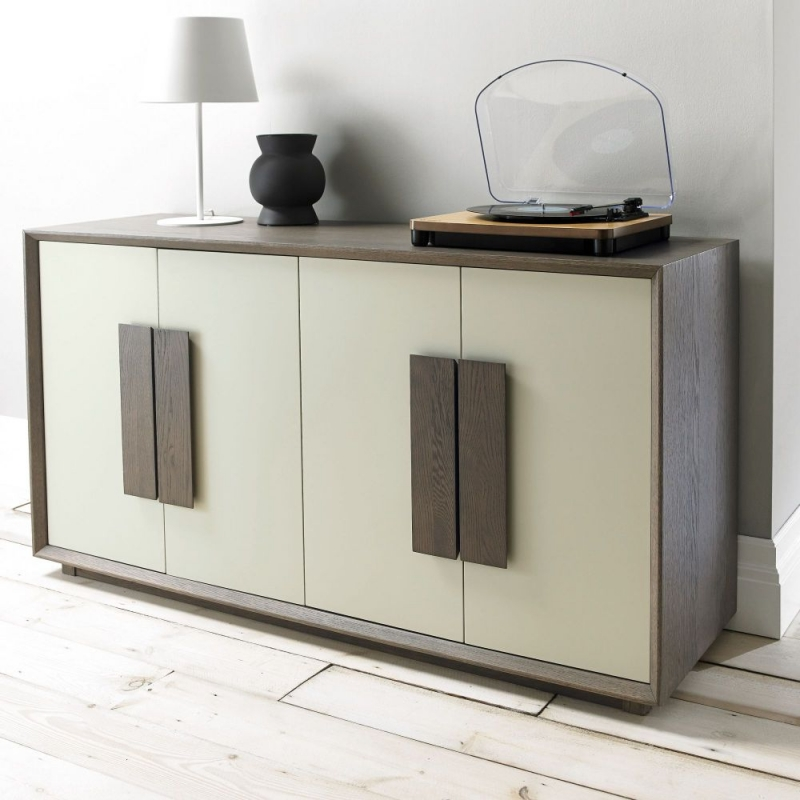 Bentley Designs City Weathered Oak and Soft Grey Sideboard - Wide