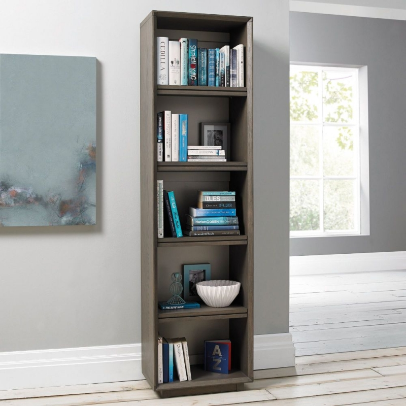 Bentley Designs City Weathered Oak and Soft Grey Bookcase - Narrow
