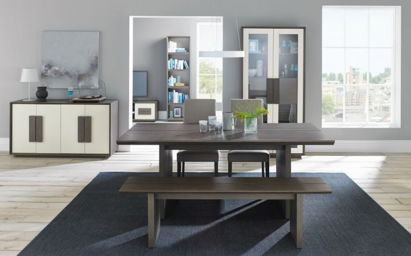 Bentley Designs City Weathered Oak and Soft Grey Dining Set - 6-8 Seater Extending Table with Pebble Grey Taper Back Chairs