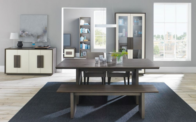 Bentley Designs City Weathered Oak and Soft Grey Dining Set - 6-8 Seater Extending Table with Pebble Grey Scoop Back Chairs