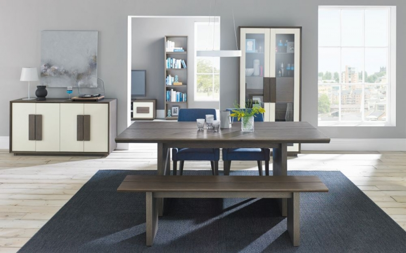 Bentley Designs City Weathered Oak and Soft Grey Dining Set - 6-8 Seater Extending Table with Steel Blue Scoop Back Chairs
