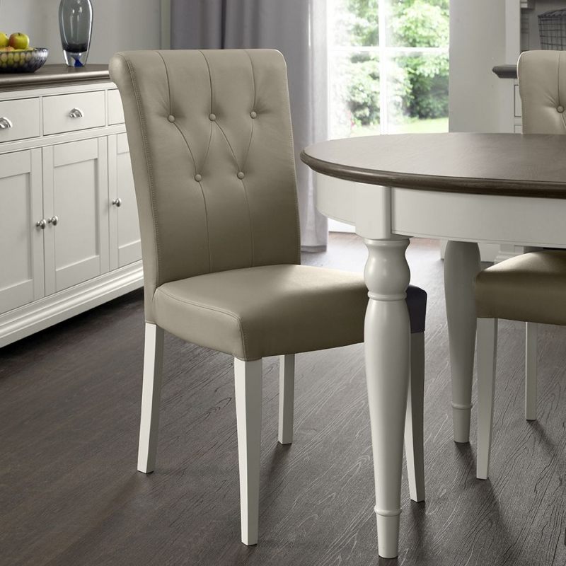 Bentley Designs Hampstead Soft Grey and Weathered Oak Dining Chair - Upholstered Olive Grey Bonded Leather (Pair)