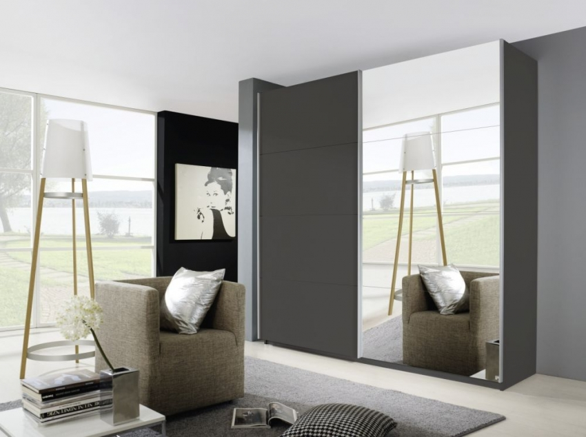 Rauch Beluga Base Sliding Wardrobe - Front with Mirror Decor