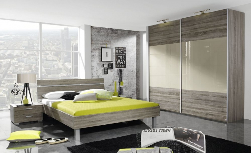 Rauch Beluga Base Sliding Wardrobe - Front with High Polish Overlay